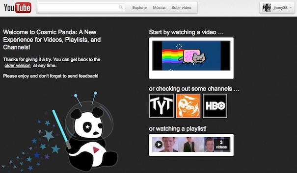 Nuevo diseño de Youtube - Cosmic Panda