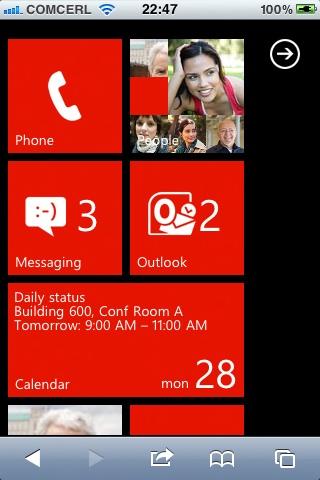 Pantalla Inicio Windows Phone 7