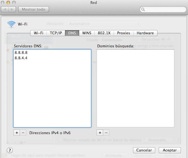 Cambiar DNS en Mac Os