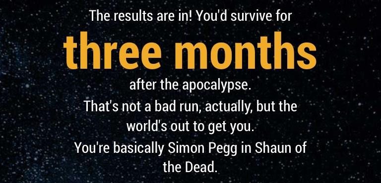 Cuanto tiempo tardarías vivo en un Apocalipsis zombie